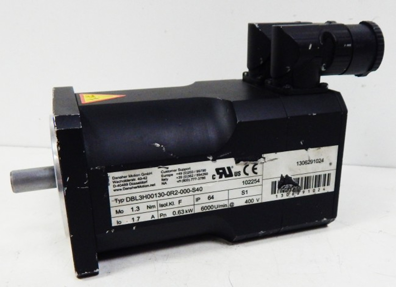 Danaher Motion DBL3H00130-OR2-000-S40 Servomotor 0,63kW rpm6000 -used-